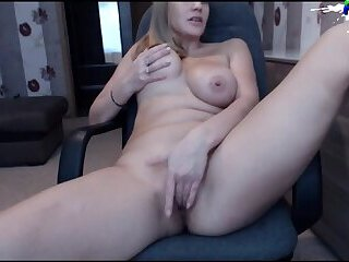 Super Hot Blonde Milf with big natural Tits masturbating on webcam