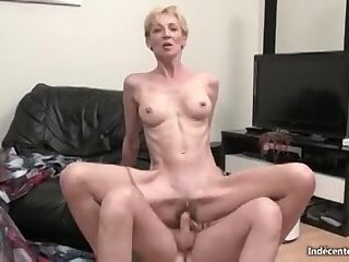 Skinny granny gets analyzed and dp'd
