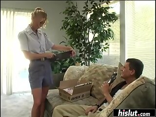 Delivery girl gets absolutely smashed