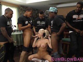 Gang banged blonde slut with big tits