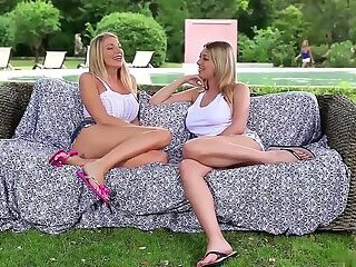 Three Hot Blonde Teens Have Lesbian Orgy By The Pool