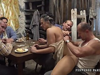 Perverted Teen and Milf gangfucked in kitchen
