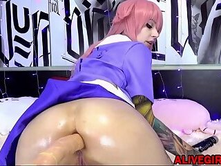 Hot cosplay sexy elf bangs a tight holes by fuck machine