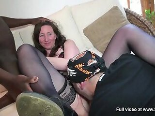 French Milf Mathilde takes 2 cocks at home