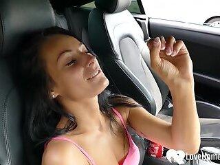 Hot stepdaughter masturbates in her new dads car
