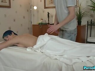 Blue Haired Freaky Girl Amy Frost Gets Pounding From Her Masseuse