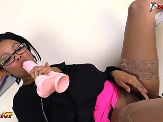 Ebony babe in stockings footjob and masturbation with dildo