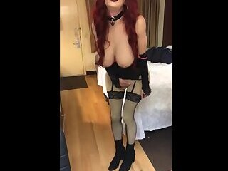 Katrina Sapphire performs while waiting for her John to
