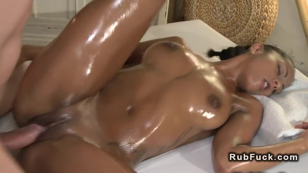 Oiled up abs girl