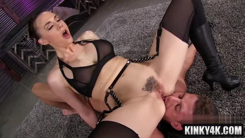 Slave licking pussy of busty mistress