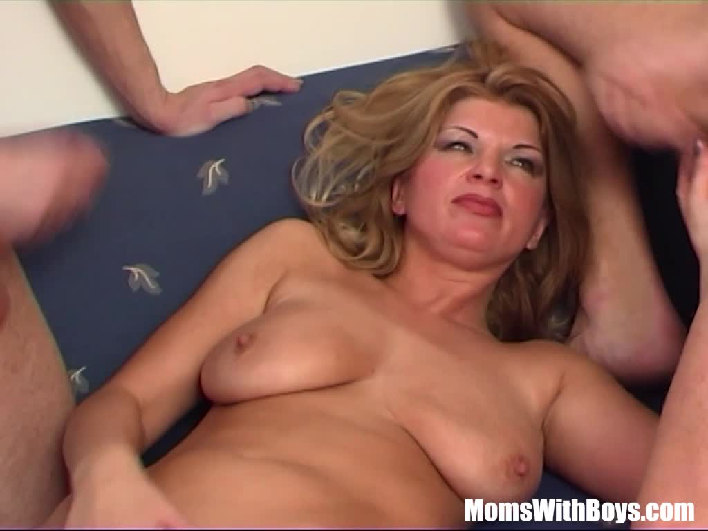 Busty Blonde Mom In Sexy Stockings Fucking Teen Cocks